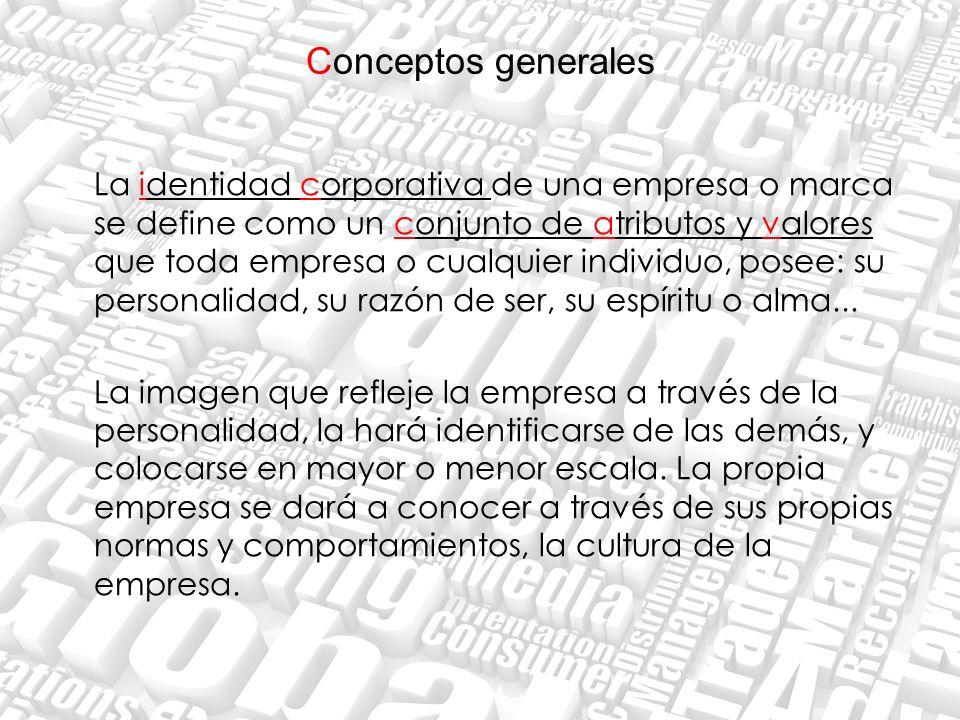 Conceptos generales La identidad corporativa de una empresa o marca se define como un conjunto de atributos y valores que toda empresa o cualquier ind