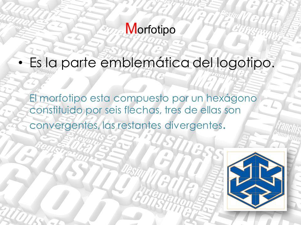 M orfotipo Es la parte emblemática del logotipo. El morfotipo esta compuesto por un hexágono constituido por seis flechas, tres de ellas son convergen