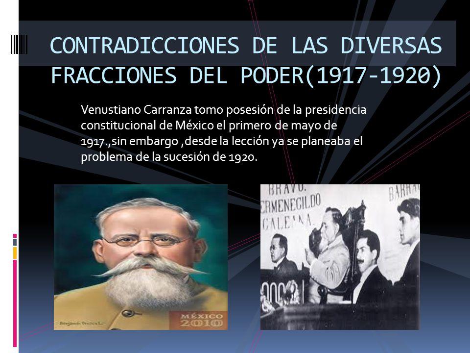 Venustiano Carranza tomo posesión de la presidencia constitucional de México el primero de mayo de 1917.,sin embargo,desde la lección ya se planeaba e