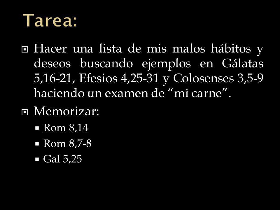 Hacer una lista de mis malos hábitos y deseos buscando ejemplos en Gálatas 5,16-21, Efesios 4,25-31 y Colosenses 3,5-9 haciendo un examen de mi carne.