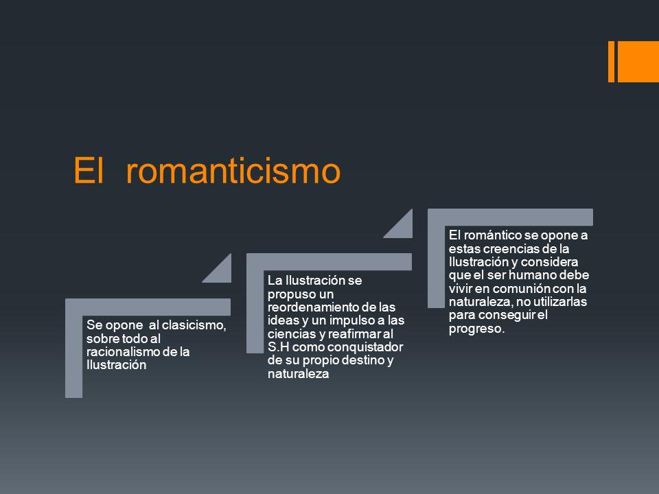 El romanticismo Se opone al clasicismo, sobre todo al racionalismo de la Ilustración La Ilustración se propuso un reordenamiento de las ideas y un imp