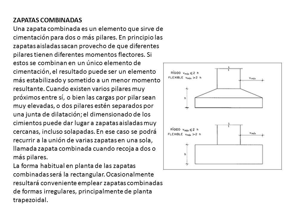 ZAPATAS COMBINADAS Una zapata combinada es un elemento que sirve de cimentación para dos o más pilares. En principio las zapatas aisladas sacan provec