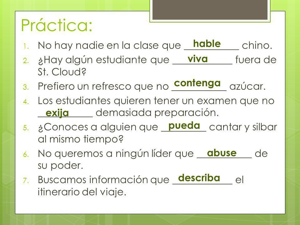 Práctica escrita: En su diario: Escribe un resumen de 5-6 oraciones en español sobre lo que aprendiste durante este Vodcast.