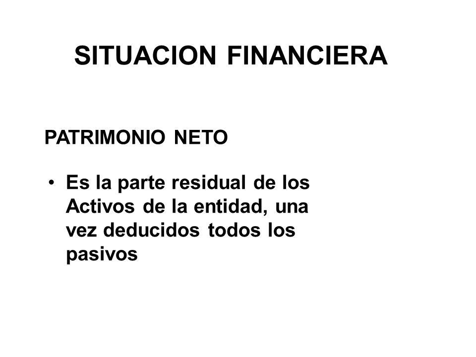 SITUACION FINANCIERA Es la parte residual de los Activos de la entidad, una vez deducidos todos los pasivos PATRIMONIO NETO