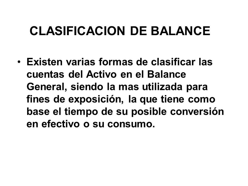 CLASIFICACION DE BALANCE Existen varias formas de clasificar las cuentas del Activo en el Balance General, siendo la mas utilizada para fines de exposición, la que tiene como base el tiempo de su posible conversión en efectivo o su consumo.