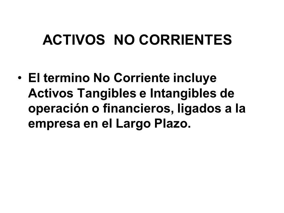 ACTIVOS NO CORRIENTES El termino No Corriente incluye Activos Tangibles e Intangibles de operación o financieros, ligados a la empresa en el Largo Plazo.