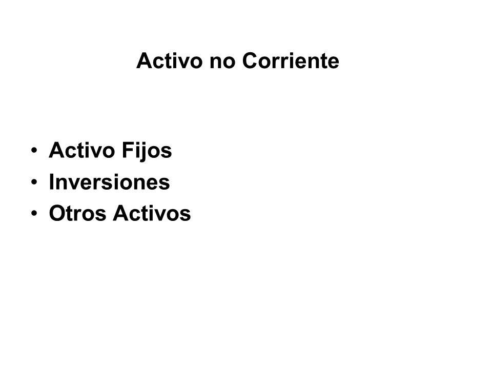 Activo no Corriente Activo Fijos Inversiones Otros Activos
