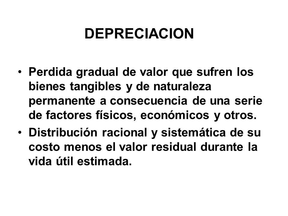 DEPRECIACION Perdida gradual de valor que sufren los bienes tangibles y de naturaleza permanente a consecuencia de una serie de factores físicos, económicos y otros.
