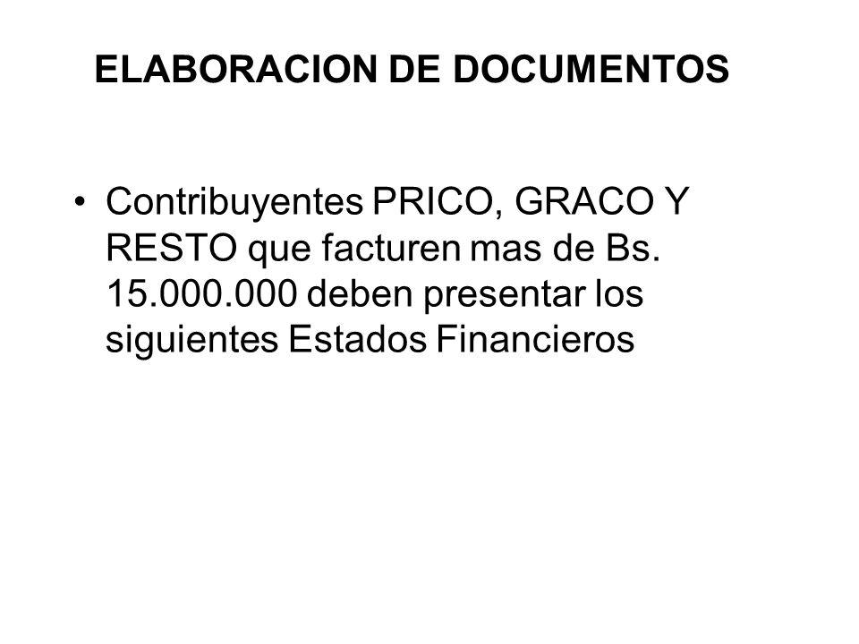 ELABORACION DE DOCUMENTOS Contribuyentes PRICO, GRACO Y RESTO que facturen mas de Bs.