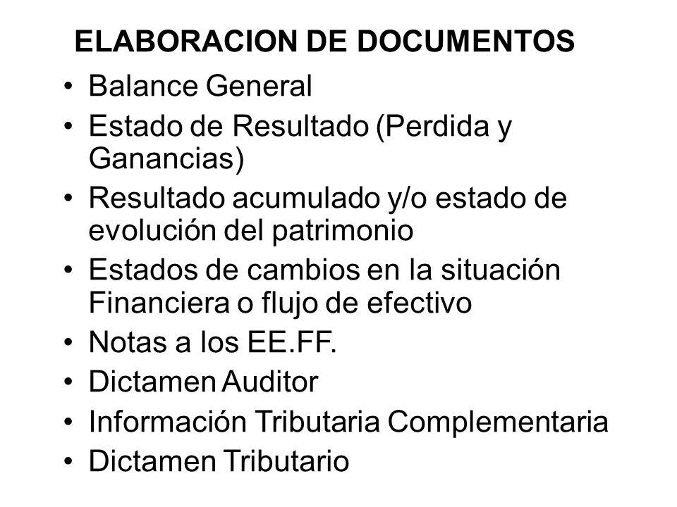 ELABORACION DE DOCUMENTOS Balance General Estado de Resultado (Perdida y Ganancias) Resultado acumulado y/o estado de evolución del patrimonio Estados de cambios en la situación Financiera o flujo de efectivo Notas a los EE.FF.