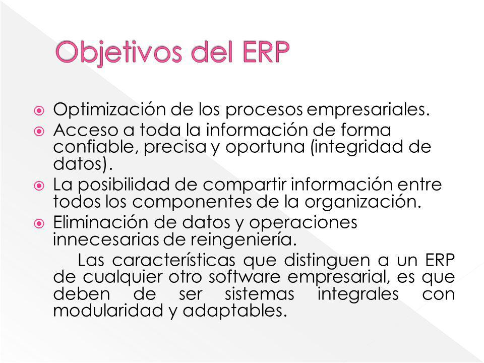 Optimización de los procesos empresariales. Acceso a toda la información de forma confiable, precisa y oportuna (integridad de datos). La posibilidad