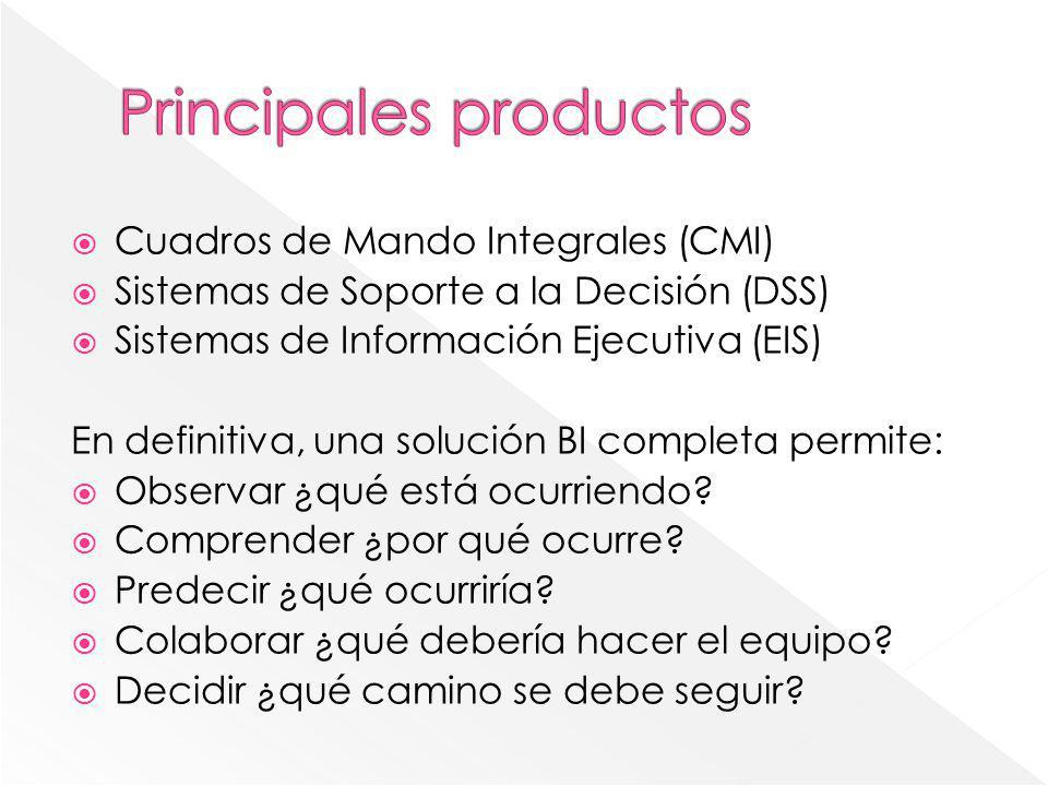 Cuadros de Mando Integrales (CMI) Sistemas de Soporte a la Decisión (DSS) Sistemas de Información Ejecutiva (EIS) En definitiva, una solución BI compl