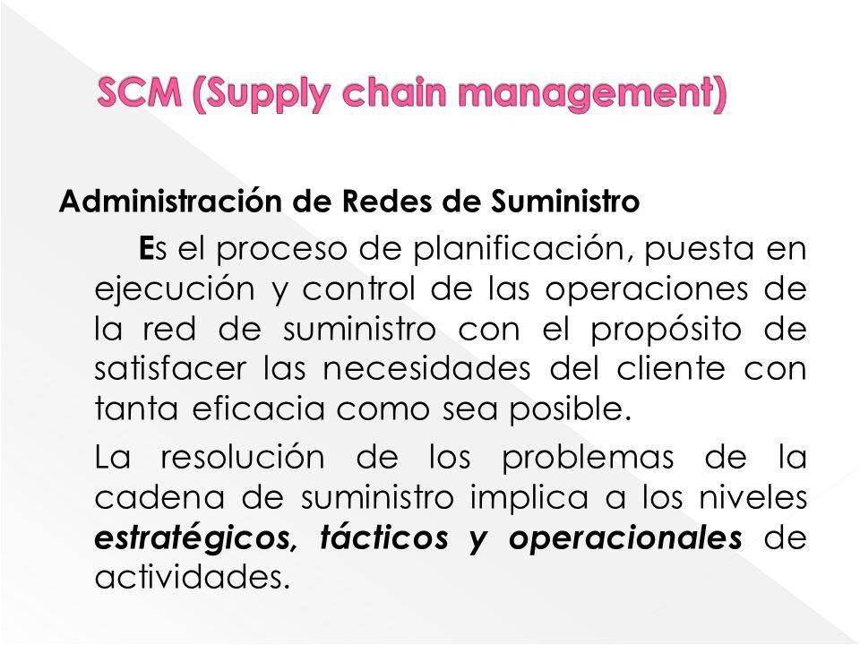 Administración de Redes de Suministro E s el proceso de planificación, puesta en ejecución y control de las operaciones de la red de suministro con el