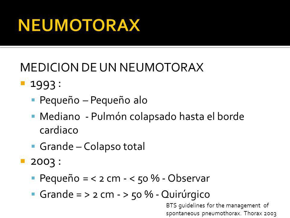 MEDICION DE UN NEUMOTORAX 1993 : Pequeño – Pequeño alo Mediano - Pulmón colapsado hasta el borde cardiaco Grande – Colapso total 2003 : Pequeño = < 2