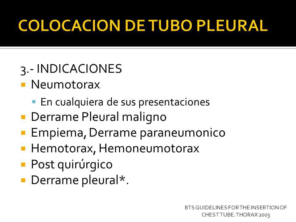 4.- VALORACION PREOPERATORIA Coagulopatias Tiempos de coagulación Bulas Adherencias y Loculaciones BTS GUIDELINES FOR THE INSERTION OF CHEST TUBE.
