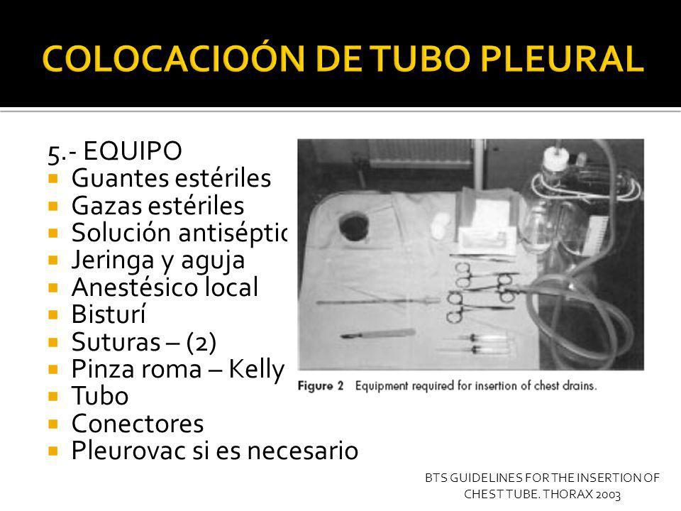 6.- PREMEDICACION Y CONSENTIMIENTO INFORMADO Relación medico-paciente Dolor 50 % de los pacientes - 9/10 Midazolam IV 1 a 5 mg BTS GUIDELINES FOR THE INSERTION OF CHEST TUBE.