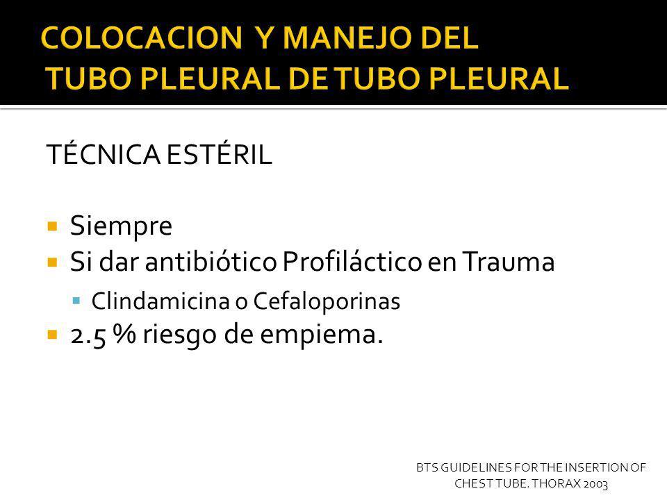 12.- INSERCION DEL TUBO PLEURAL Tubos pequeños >14 fr, pueden colocarse con técnica de Seldinger.