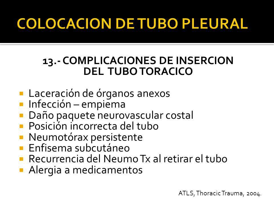 14.- COLOCACION DE LA PUNTA DEL TUBO De ser posible : Apical para neumotórax Basal para colecciones – líquidos.