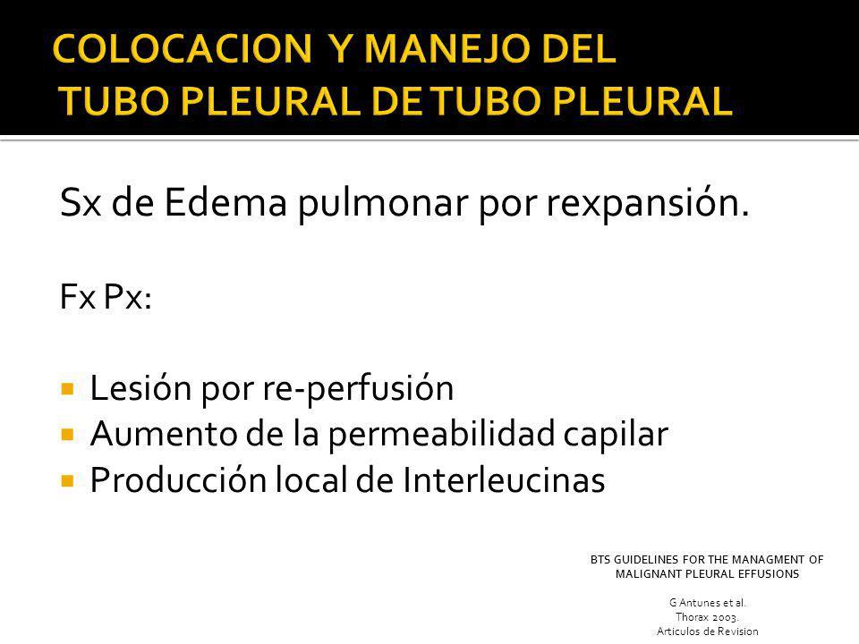 Sx de Edema pulmonar por rexpansión. Fx Px: Lesión por re-perfusión Aumento de la permeabilidad capilar Producción local de Interleucinas BTS GUIDELIN