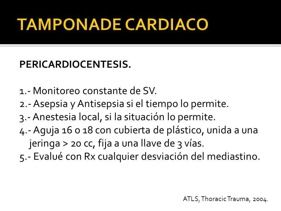 PERICARDIOCENTESIS 6.- Puncionar la piel en Angulo de 45 °, 1 a 2 cm por debajo del borde costal izquierdo de la unión condro-xifoidea.