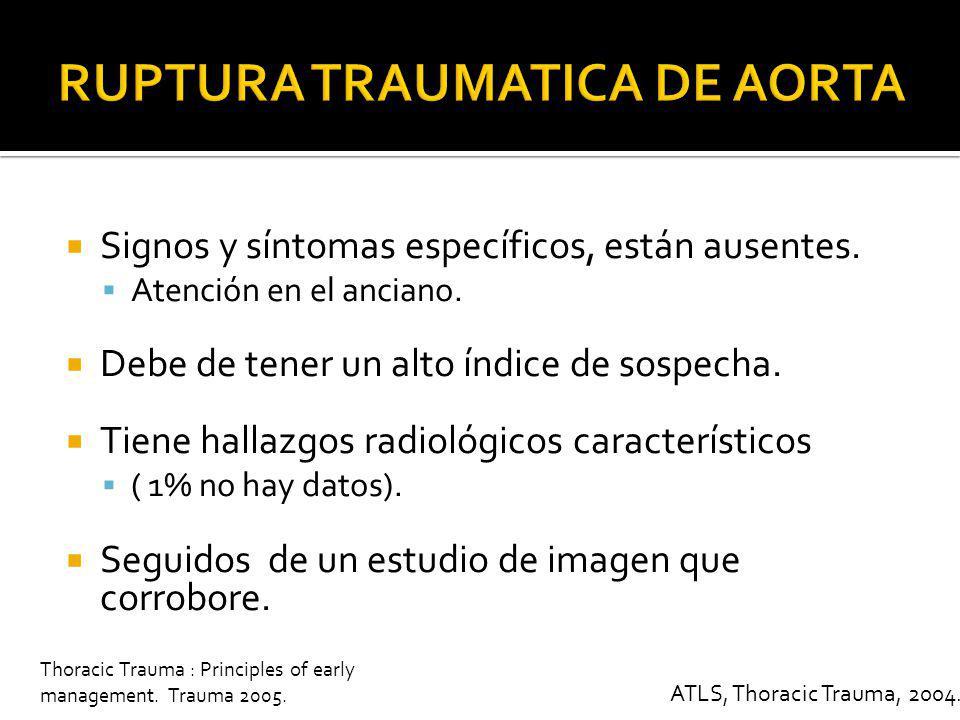 Formación de hematoma de contención o pseudoaneurisma Localización : Itsmo 74 %, Ascendente 9 %, Arco 9 %, Inominada 20 %, Subclavia 3 % Mortalidad del 30 % Si llega al hospital