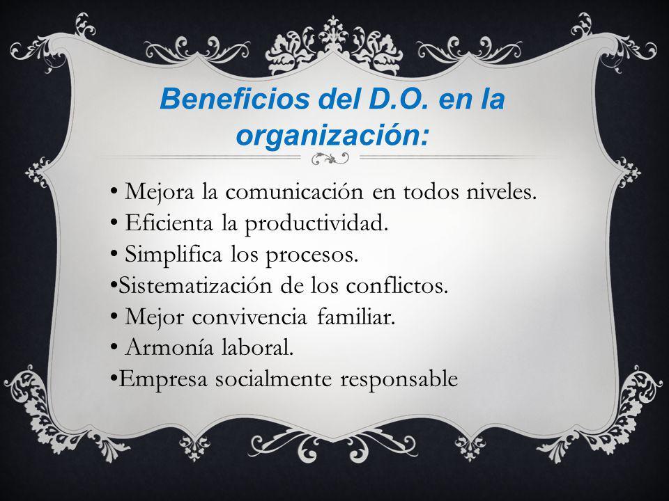 Beneficios del D.O. en la organización: Mejora la comunicación en todos niveles. Eficienta la productividad. Simplifica los procesos. Sistematización