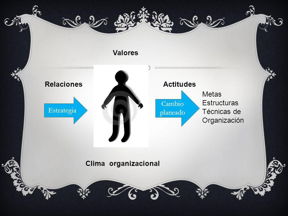 Valores Actitudes Relaciones Clima organizacional Estrategia Cambio planeado Metas Estructuras Técnicas de Organización