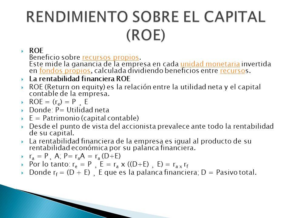 ROE Beneficio sobre recursos propios. Este mide la ganancia de la empresa en cada unidad monetaria invertida en fondos propios, calculada dividiendo b