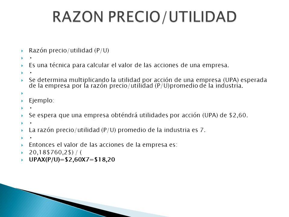 Razón precio/utilidad (P/U) Es una técnica para calcular el valor de las acciones de una empresa. Se determina multiplicando la utilidad por acción de