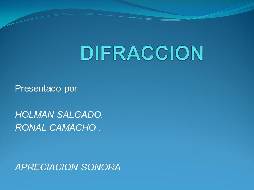 Presentado por HOLMAN SALGADO. RONAL CAMACHO. APRECIACION SONORA