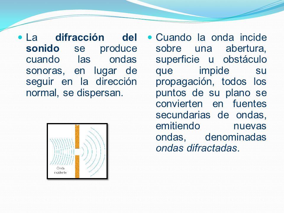 La difracción del sonido se produce cuando las ondas sonoras, en lugar de seguir en la dirección normal, se dispersan. Cuando la onda incide sobre una
