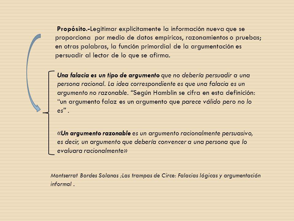 Propósito.-Legitimar explícitamente la información nueva que se proporciona por medio de datos empíricos, razonamientos o pruebas; en otras palabras,