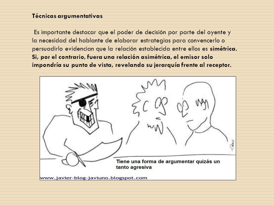 Técnicas argumentativas Por medio de la deducción (se inicia con la tesis y posteriormente con la argumentación) o la inducción (la tesis se expone después de los argumentos).