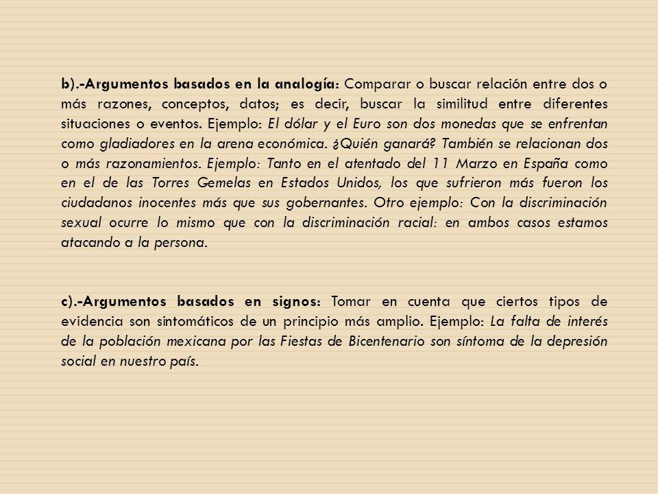 b).-Argumentos basados en la analogía: Comparar o buscar relación entre dos o más razones, conceptos, datos; es decir, buscar la similitud entre difer