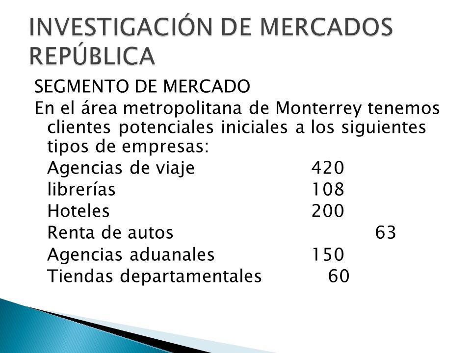 SEGMENTO DE MERCADO En el área metropolitana de Monterrey tenemos clientes potenciales iniciales a los siguientes tipos de empresas: Agencias de viaje