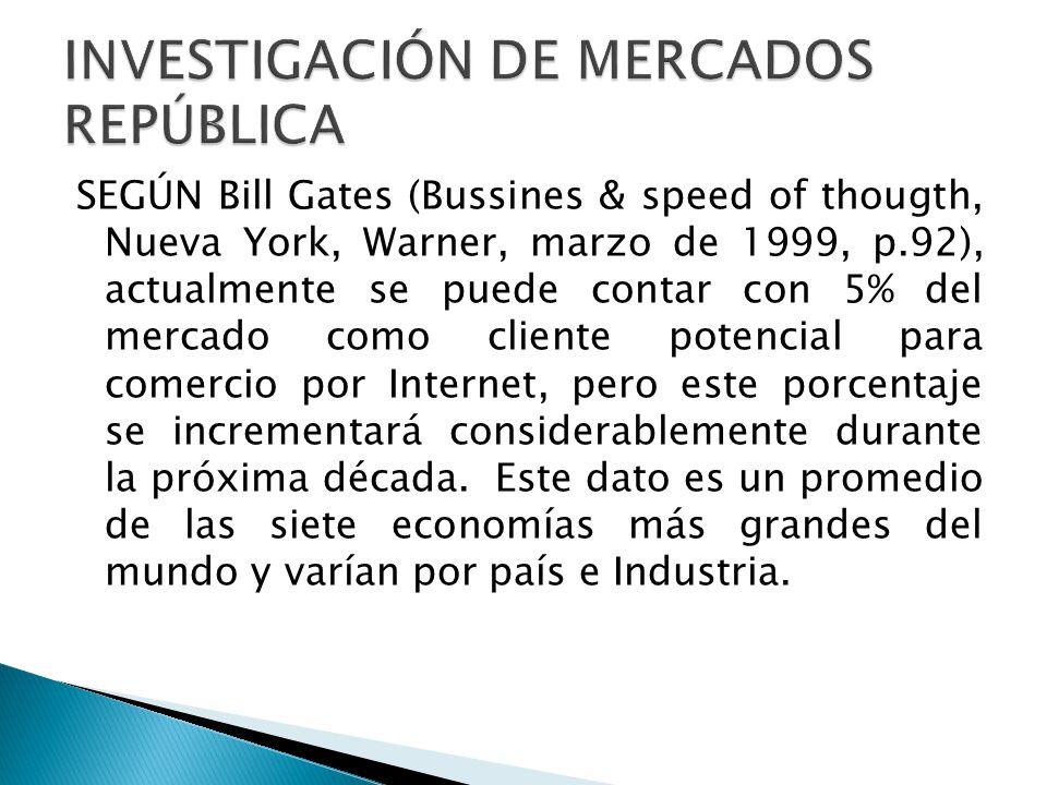 SEGÚN Bill Gates (Bussines & speed of thougth, Nueva York, Warner, marzo de 1999, p.92), actualmente se puede contar con 5% del mercado como cliente p