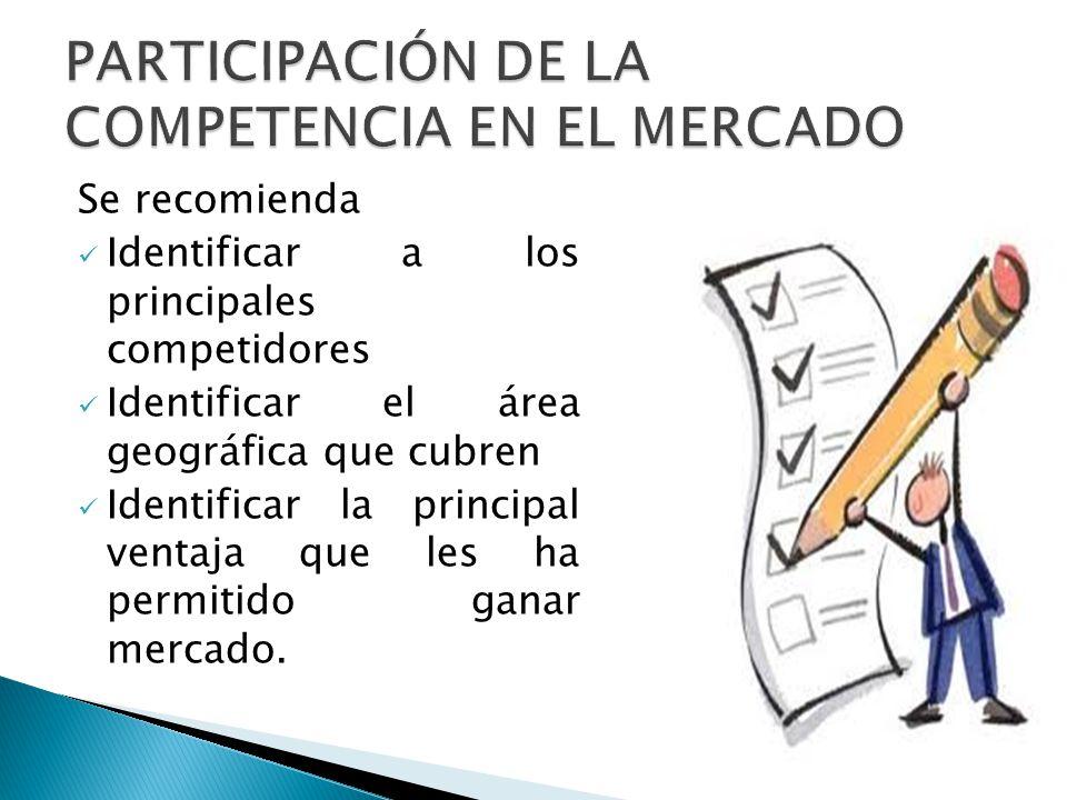 Se recomienda Identificar a los principales competidores Identificar el área geográfica que cubren Identificar la principal ventaja que les ha permiti