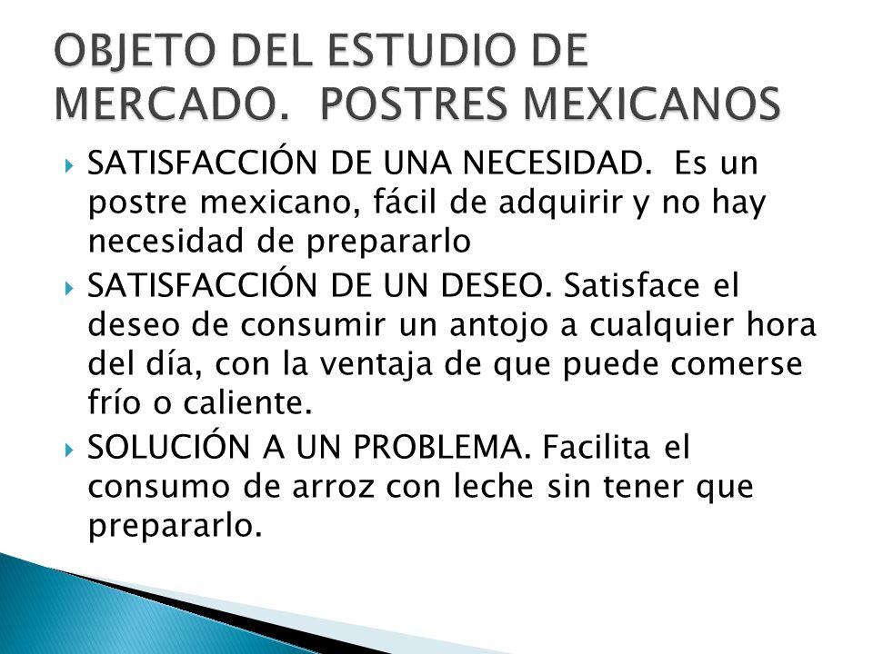 SATISFACCIÓN DE UNA NECESIDAD. Es un postre mexicano, fácil de adquirir y no hay necesidad de prepararlo SATISFACCIÓN DE UN DESEO. Satisface el deseo