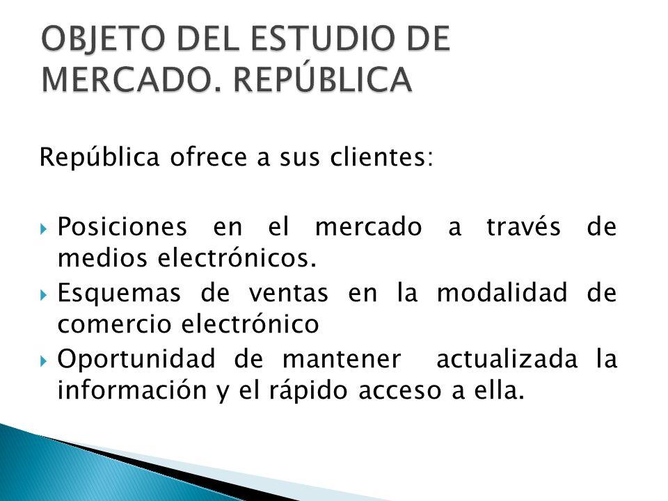 República ofrece a sus clientes: Posiciones en el mercado a través de medios electrónicos. Esquemas de ventas en la modalidad de comercio electrónico