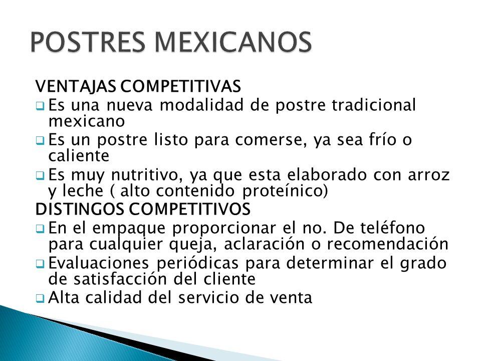 VENTAJAS COMPETITIVAS Es una nueva modalidad de postre tradicional mexicano Es un postre listo para comerse, ya sea frío o caliente Es muy nutritivo,