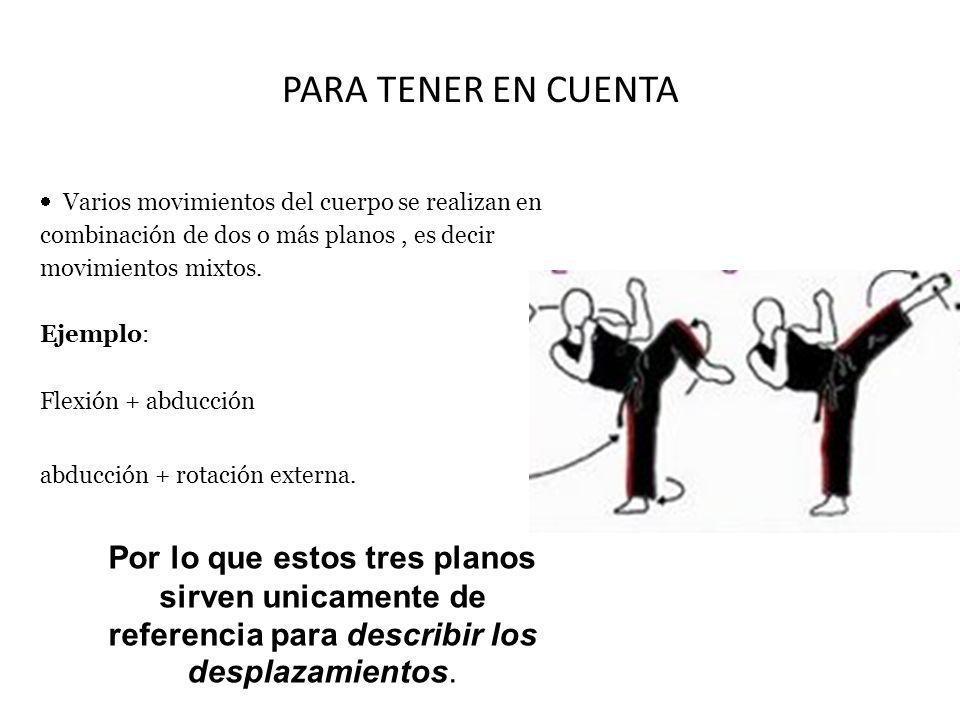 PARA TENER EN CUENTA Varios movimientos del cuerpo se realizan en combinación de dos o más planos, es decir movimientos mixtos. Ejemplo: Flexión + abd