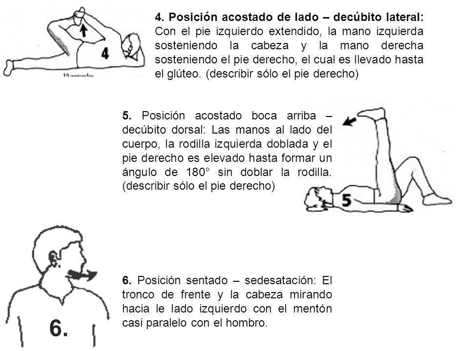 4. Posición acostado de lado – decúbito lateral: Con el pie izquierdo extendido, la mano izquierda sosteniendo la cabeza y la mano derecha sosteniendo