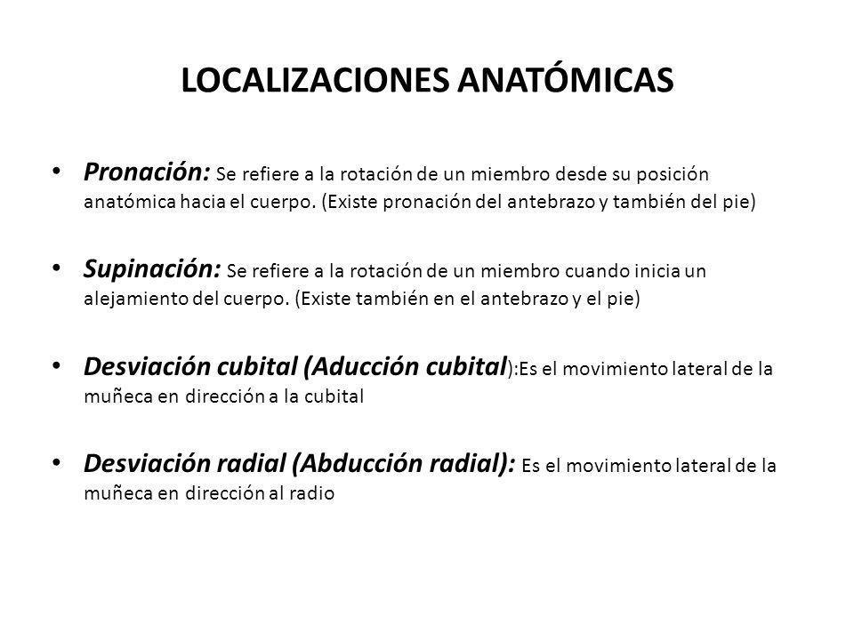 LOCALIZACIONES ANATÓMICAS Pronación: Se refiere a la rotación de un miembro desde su posición anatómica hacia el cuerpo. (Existe pronación del antebra