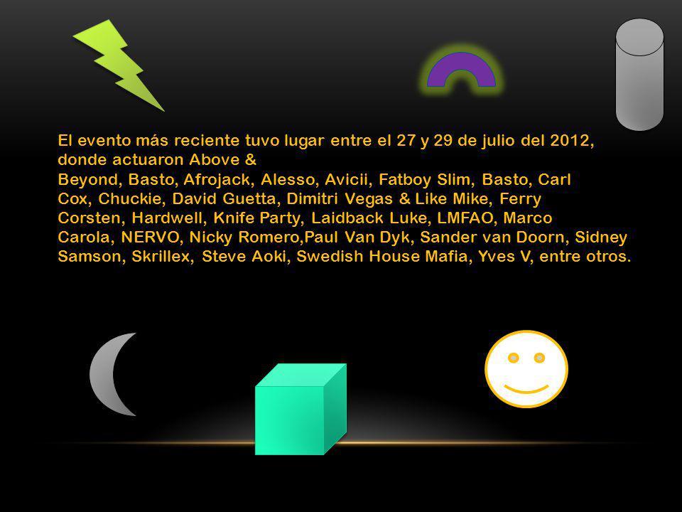 El evento más reciente tuvo lugar entre el 27 y 29 de julio del 2012, donde actuaron Above & Beyond, Basto, Afrojack, Alesso, Avicii, Fatboy Slim, Bas