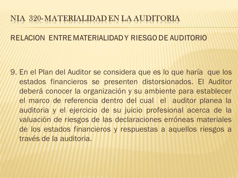 RELACION ENTRE MATERIALIDAD Y RIESGO DE AUDITORIO 9. En el Plan del Auditor se considera que es lo que haría que los estados financieros se presenten