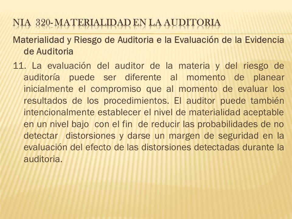 Materialidad y Riesgo de Auditoria e la Evaluación de la Evidencia de Auditoria 11. La evaluación del auditor de la materia y del riesgo de auditoría