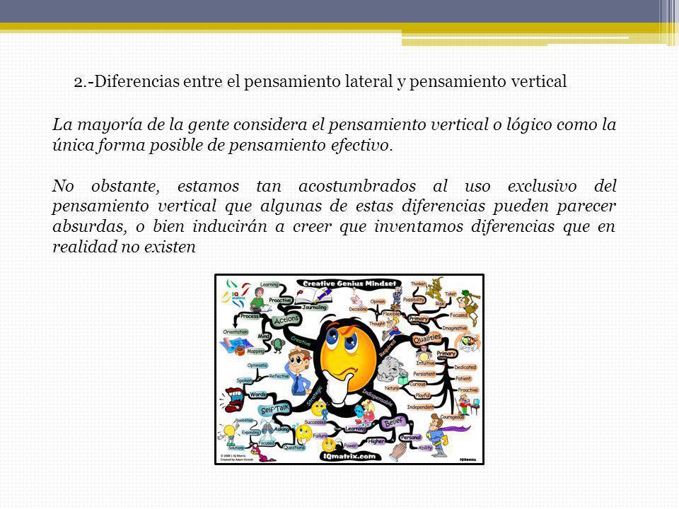 2.-Diferencias entre el pensamiento lateral y pensamiento vertical La mayoría de la gente considera el pensamiento vertical o lógico como la única for