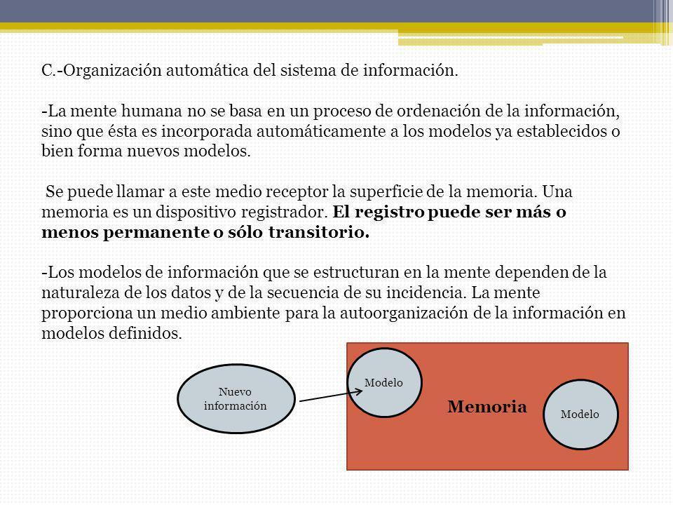 C.-Organización automática del sistema de información. -La mente humana no se basa en un proceso de ordenación de la información, sino que ésta es inc