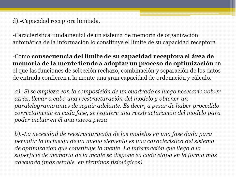 d).-Capacidad receptora limitada. -Característica fundamental de un sistema de memoria de organización automática de la información lo constituye el l