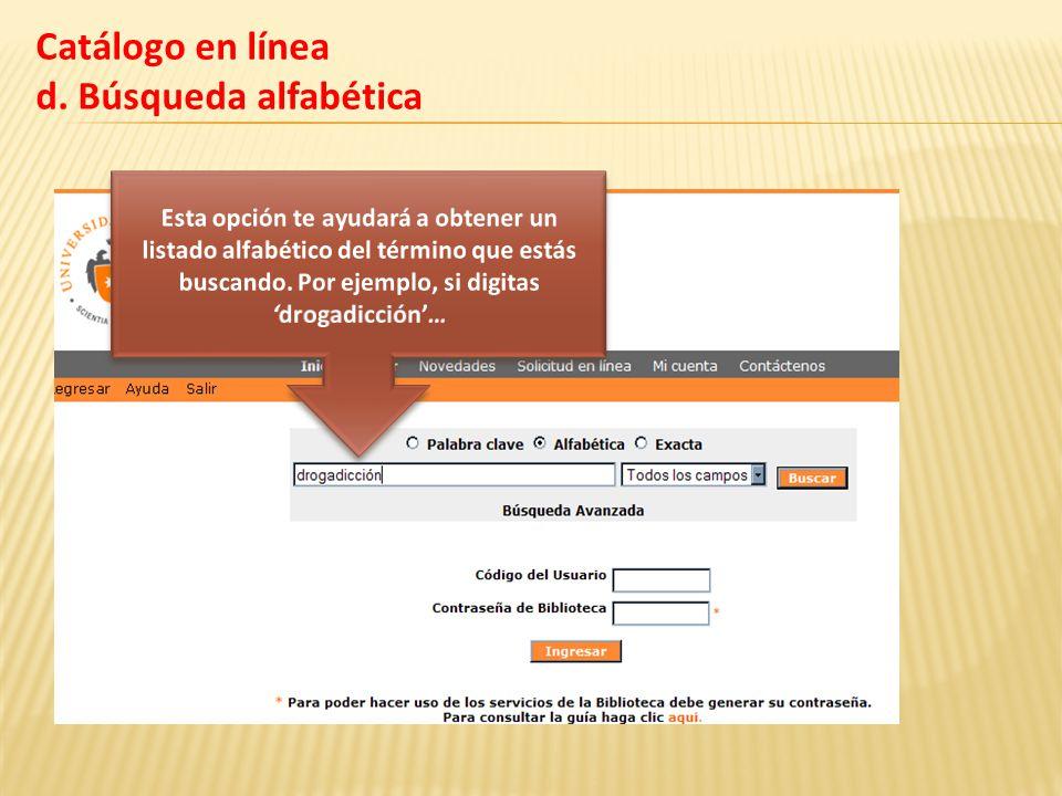 Catálogo en línea d. Búsqueda alfabética